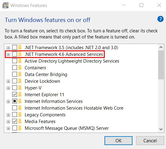 Advanced Services option is turned on1