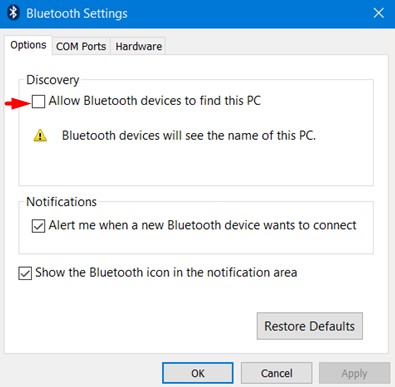 Allow Bluetooth device to find this PC
