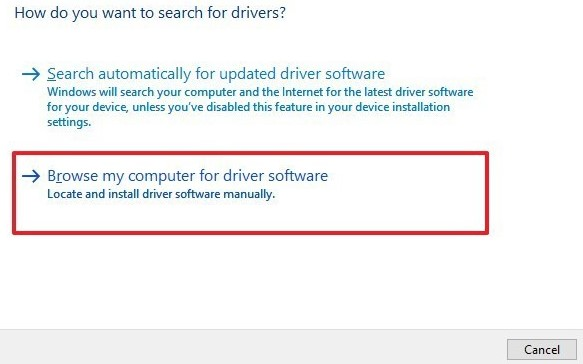 Browse My Computer For Driver Software.