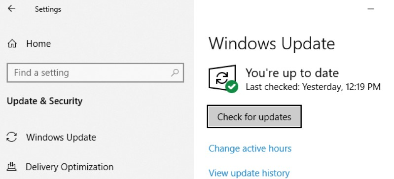 You are able to check the Windows icon on the toolbar and type Update. After that, the thing that you have to do is to click on Check for Updates.