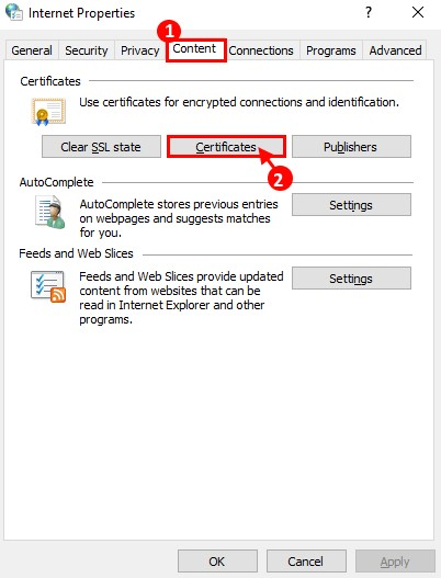 Choose the Content tab and click on the Certificates button.
