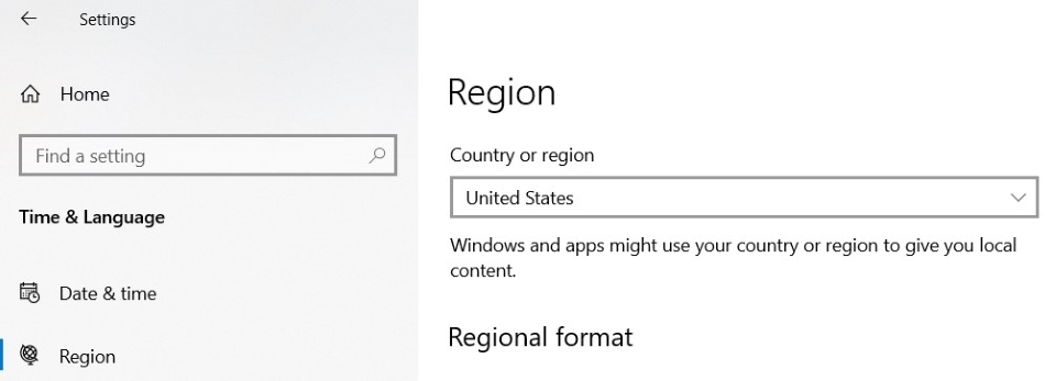 Click on Region from Left menu and then select United states in Countries or region list.