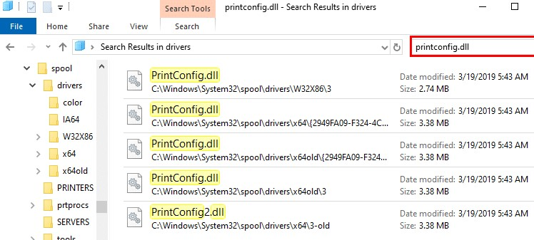 Copy the PrintCOnfig.dll file to the correct folder