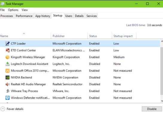 DISABLE CTF LOADER PROCESS VIA TASK MANAGER IN WINDOWS 10