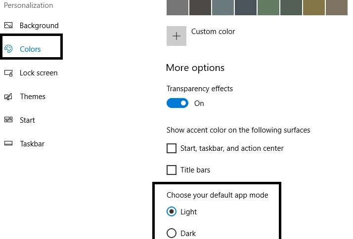Default App Mode selec and the Light Option