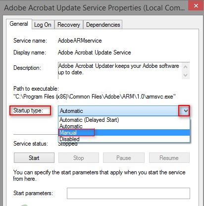 Disable Adobe AcroTray from Services