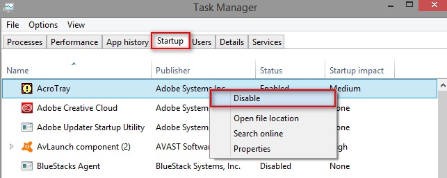 Disable Adobe AcroTray from Task Manager