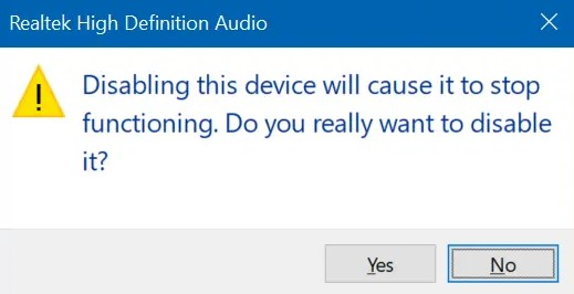 Do not forget to click the Yes button to disable the device driver