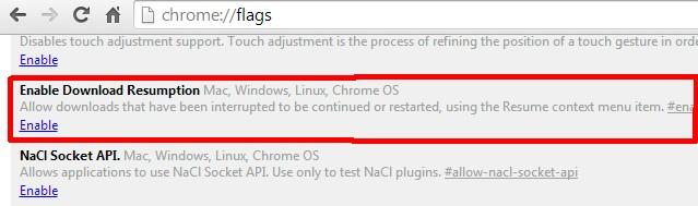Enable Downloads Resumption