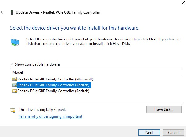 Enable Ethernet Device and Update Drivers