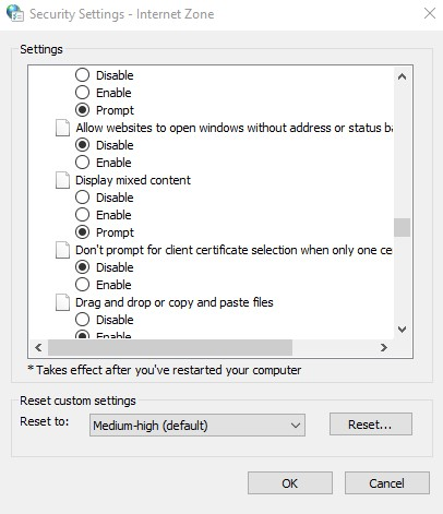 Enable display mixed content in the Internet Security Settings
