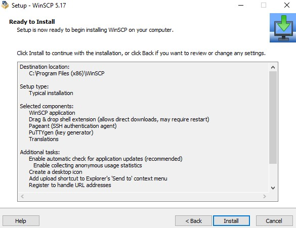 Hit the Install button to start installing the WinSCP program.
