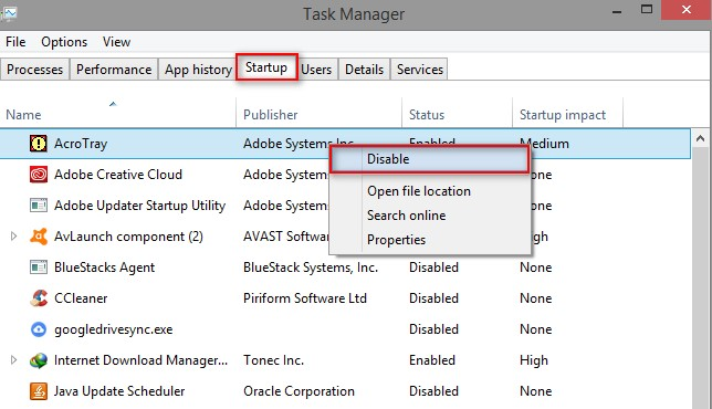 How to Disable acrotray.exe Acrotray $32 Bit$ from Task Manager