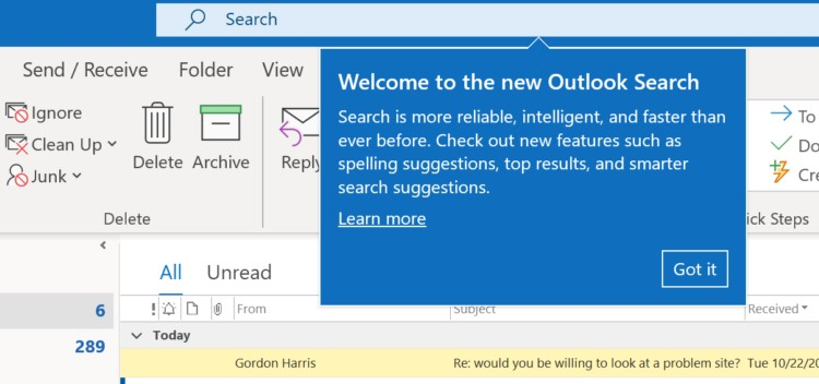 How to Fix Outlook Search Bar (Ribbon) Missing