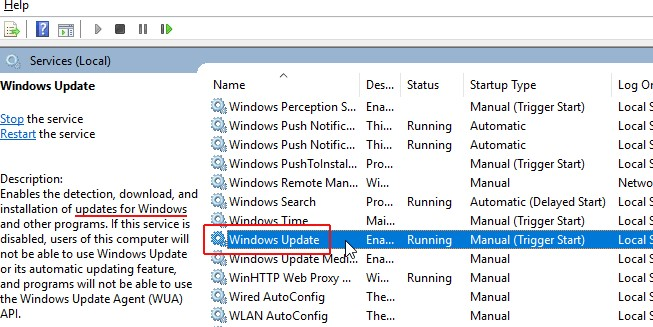 Look for Windows Update service