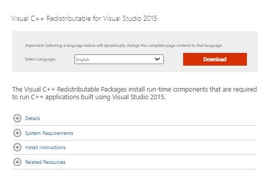 Microsoft Visual C++ Redistributable download page