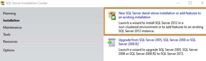New SQL Server standalone installation or add features to an existing installation to start the installation.