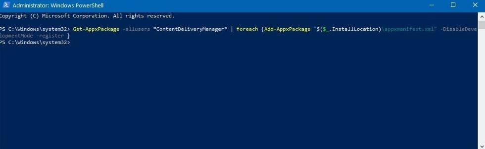 Now, you have to copy and paste the command below into PowerShell