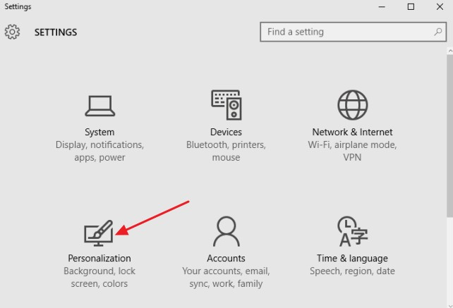 On the Settings screen, simply click Personalization.