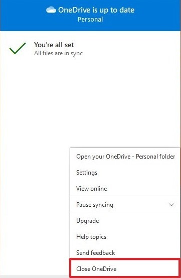 OneDrive cloud icon on your notification area