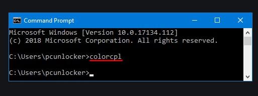 Open Color Management via Command Prompt.