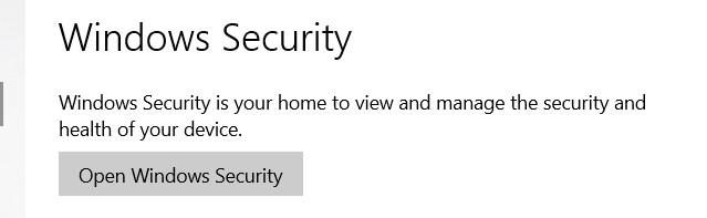 Open Windows Defender Security Centerbutton.