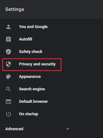 Privacy and Security option