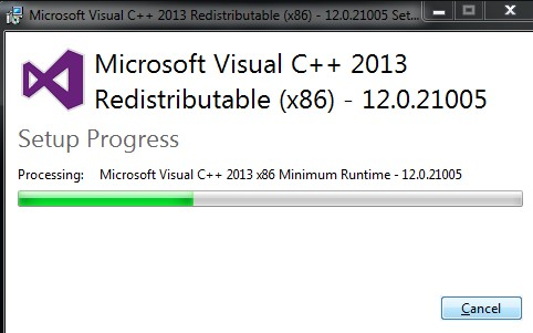 Reinstall the Microsoft Visual C++ Redistributable package