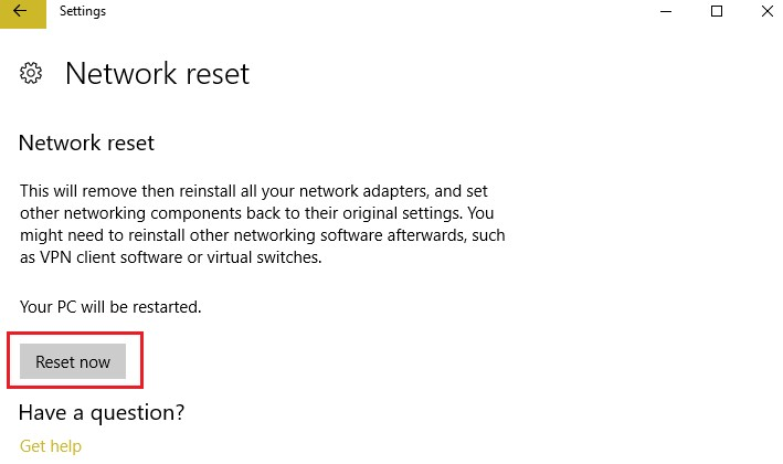 Reset the Ethernet Adapter