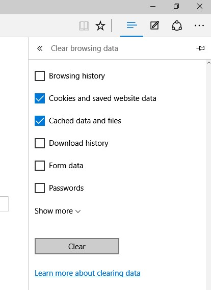 Resetting the browser data and cache