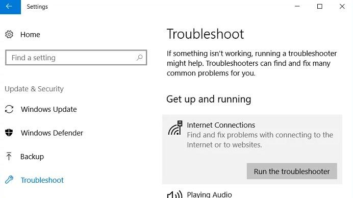 Run Network Troubleshooter