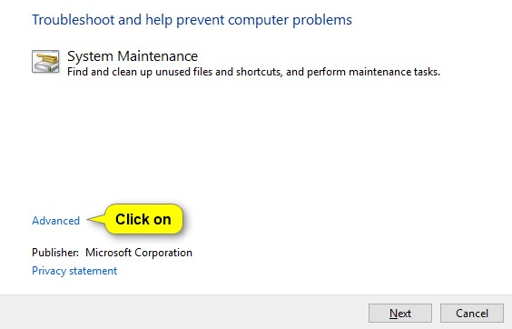 Run the System Maintenance & Windows Update troubleshooters