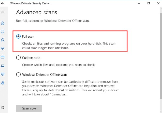 Scan for virus and malware