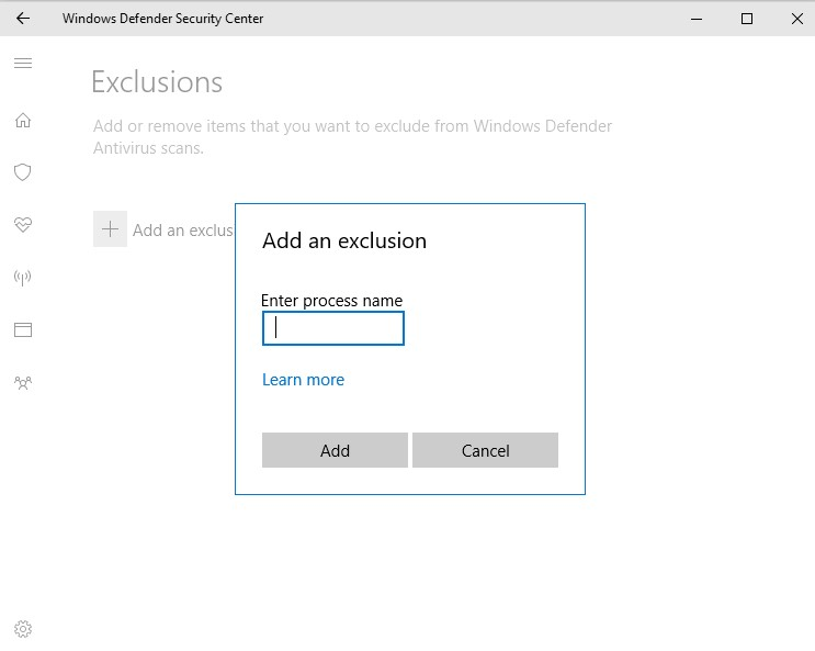 Select+ Add an exclusionand then choose the Folder.