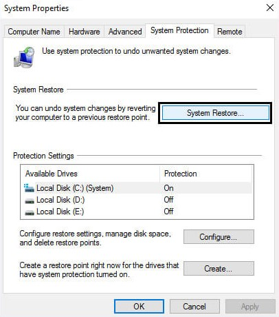 System Protection tab and then choose System Restore