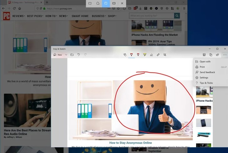 Taking a screenshot on Windows 10 with Snip and Sketch