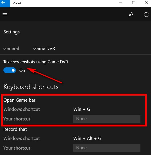 Taking a screenshot on Windows 10 with the Game Bar