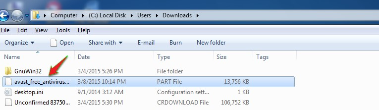 Then, find the file extension .PART name