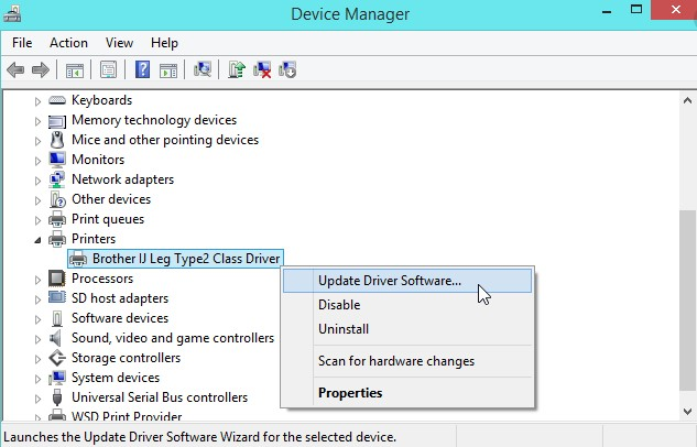 Update the device driver of your printer