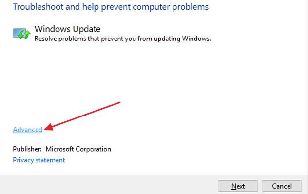 Using Windows Update Troubleshooter