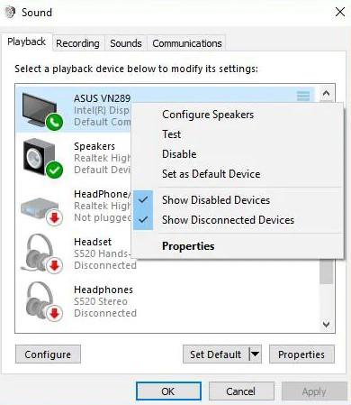 Verify the Default Audio Device