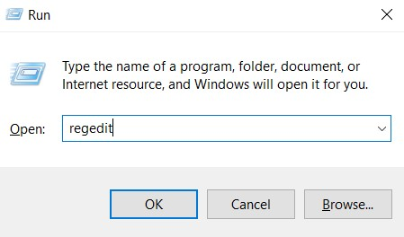 You are able to type regedit