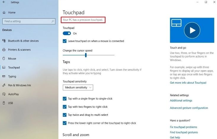 Your PC has a precision touchpad