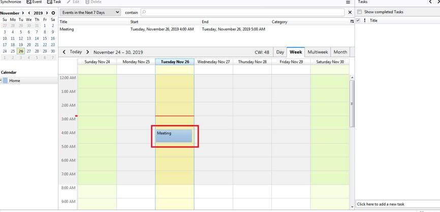added to the Mozilla Thunderbird calendar