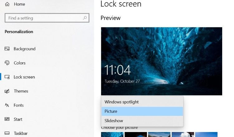 click Lock screen to see settings related to the lock screen.