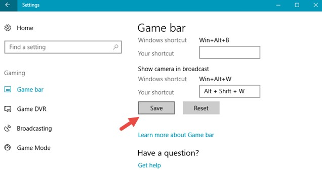click on Save in game bar