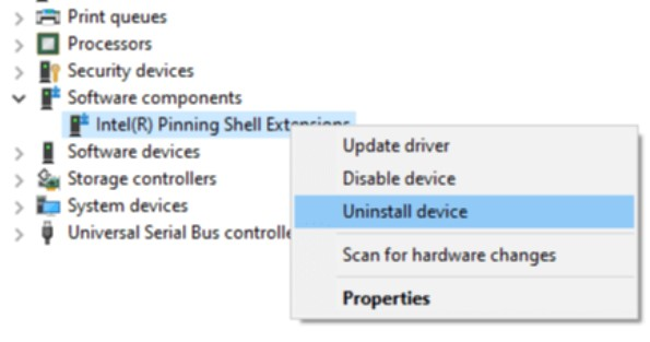 click on the Intel Pinning Shell Extensions field and choose Uninstall Device from the context menu