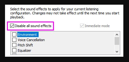click the box beside Disable All Sound Effects to put a checkmark