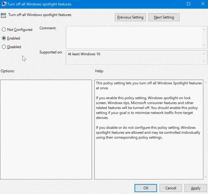 double-click on Turn off all Windows spotlight features