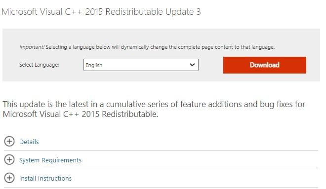 download Microsoft Visual C++ Redistributable Package
